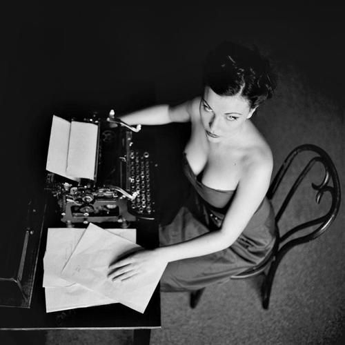 sexy woman with typewriter
